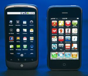 The Google Nexus One(L) smartphone with