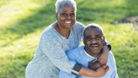 Loving senior African American couple