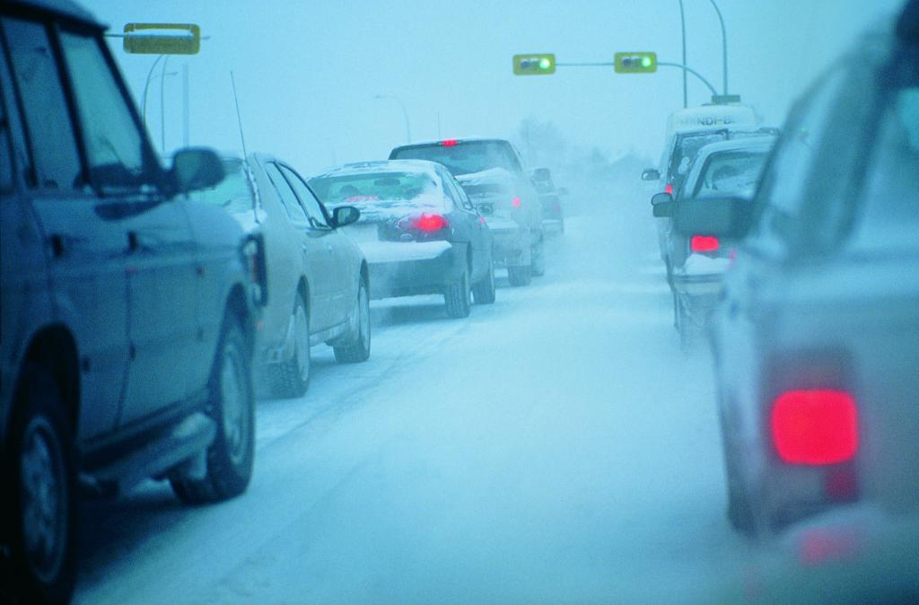 Traffic jam in snowy conditions