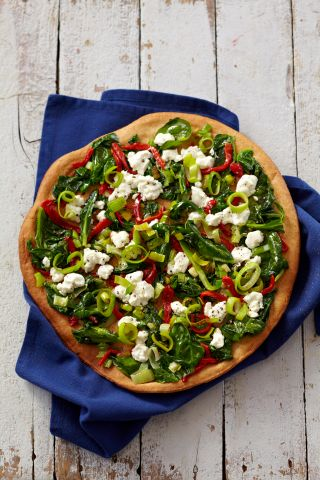 Thin Crust Pizza with Leeks, Feta, Spinach & Red Peppers