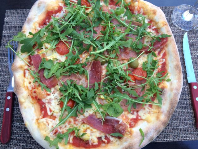 Pizza with tomato and