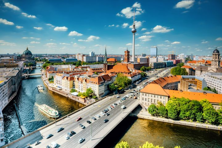 aerial view on Berlin with Tv-Tower and river
