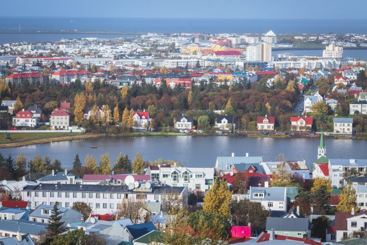 The cityscape of Reykjavik with River Ellidaar, Iceland