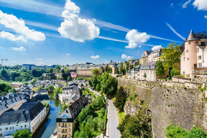Luxembourg, Luxembourg City, Low area of Grund from Boulevard du General Patto at sunny day