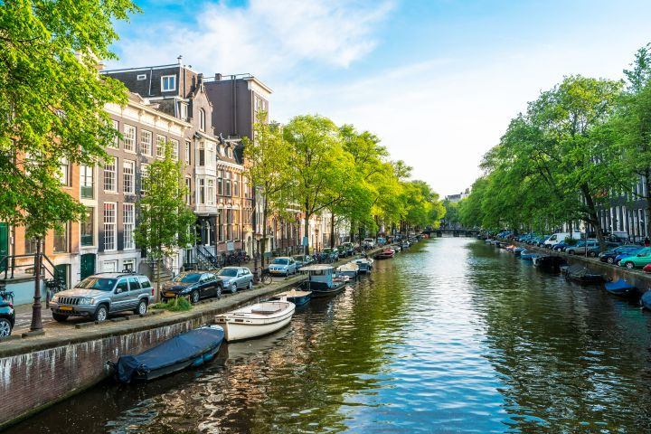 Amsterdam tranquil canal scene, Netherlands Europe