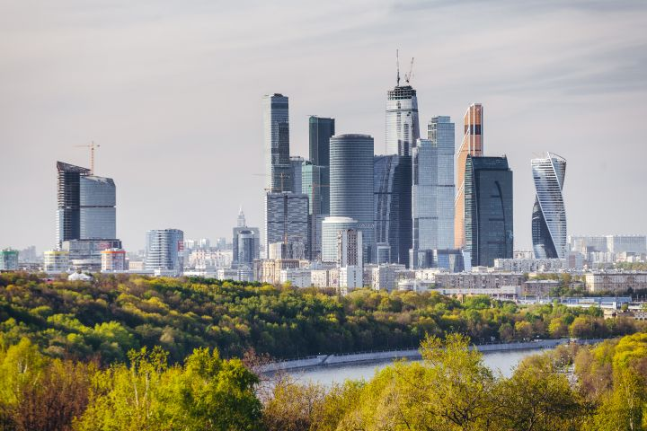 Cityscape of Moscow with modern Moscow International business center (aka Moscow City), Russia