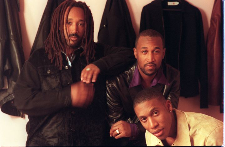 CA.Tony Toni Tone#3.IS.12/6. Dwayne Wiggins, Timothy Riley, and Raphael Saadiq below L–R aka 'Tony T