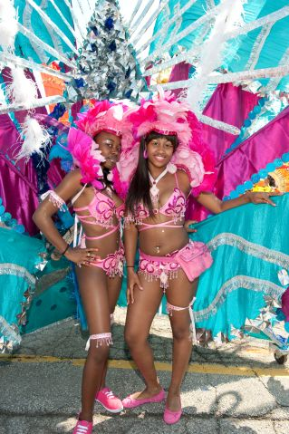 Young women in costume for the Caribana Festival Parade, Toronto, Ontario