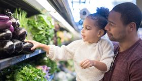 Dad takes his young daughter grocery shopping