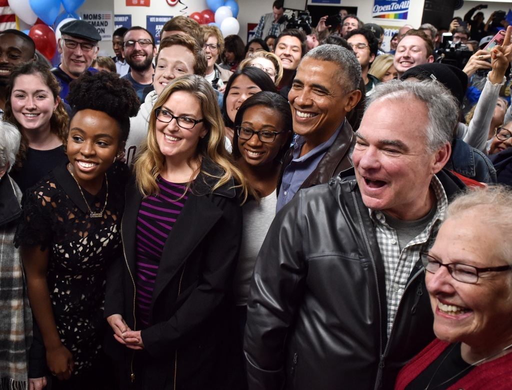 Former President Barack Obama joins Senatorial candidate Tim Kaine in a rally with campaign volunteers, in Fairfax, VA.
