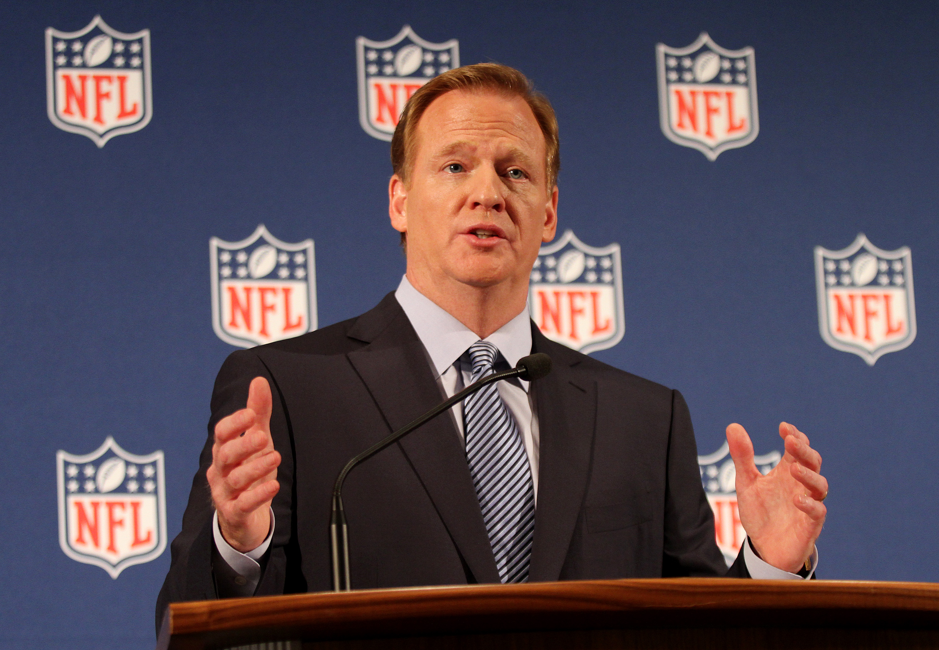 NFL Commissioner Roger Goodell holds a press conference to discuss the Ray Rice incident